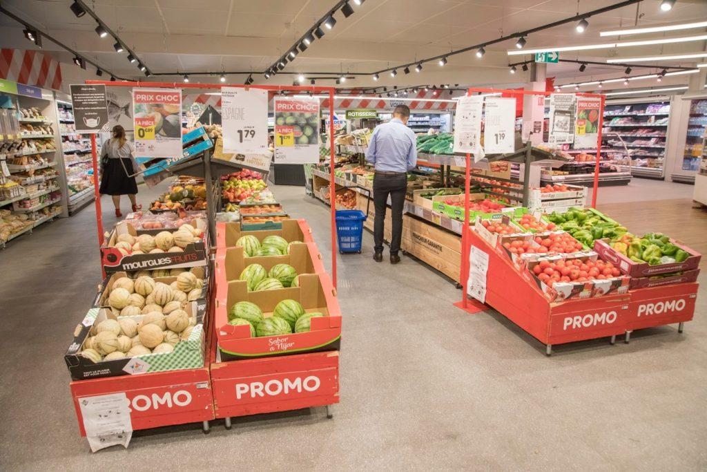 Le rayon fruits et légumes du Leader Price de Guyancourt