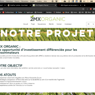 Screenshot du site 2MX Organic